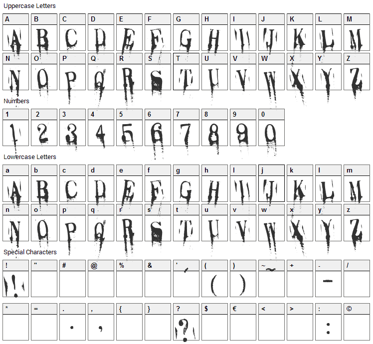 Caracura Font Character Map