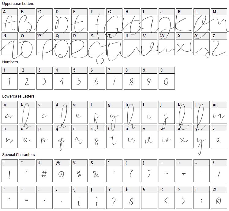 Caramellia Font Character Map