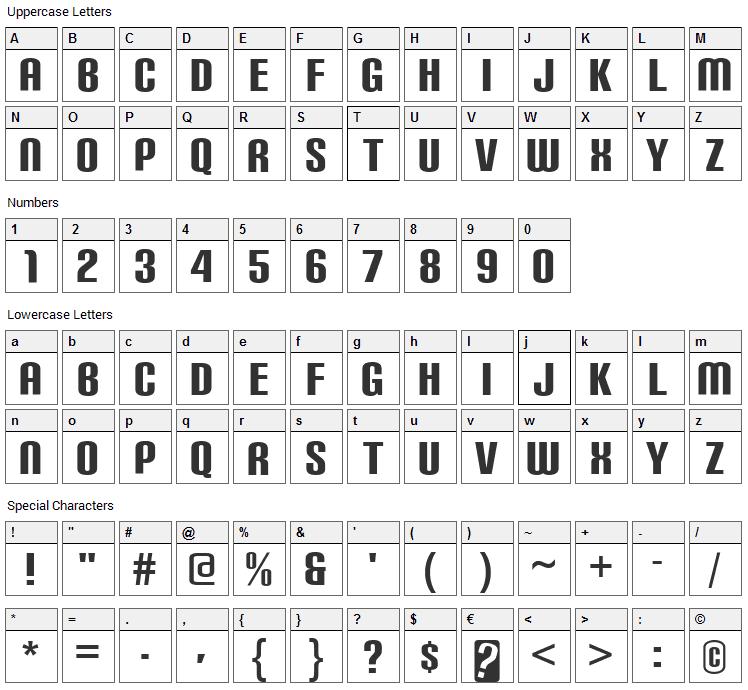 Carbon Black Font Character Map