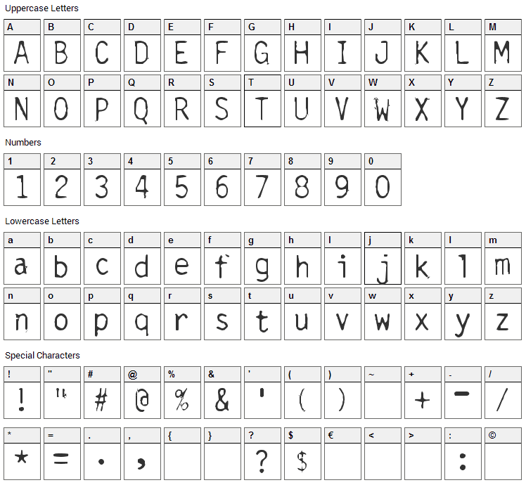 Carbonated Gothic Font Character Map