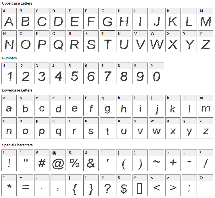Carbonized Timber Font Character Map