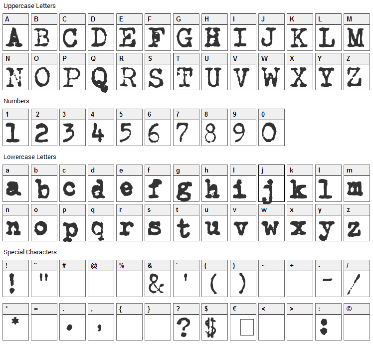 CarbonType Font Character Map