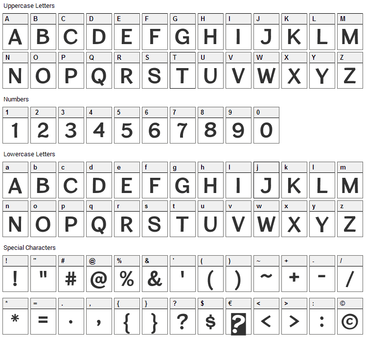 Cardigan Titling Font Character Map