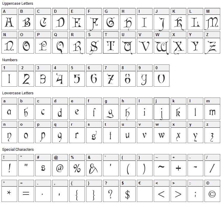 Cardinal Font Character Map