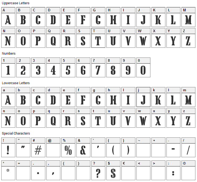 Cargo Crate Font Character Map