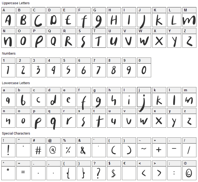 Carista Font Character Map