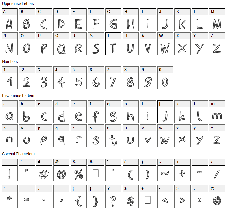Carla Outline Font Character Map