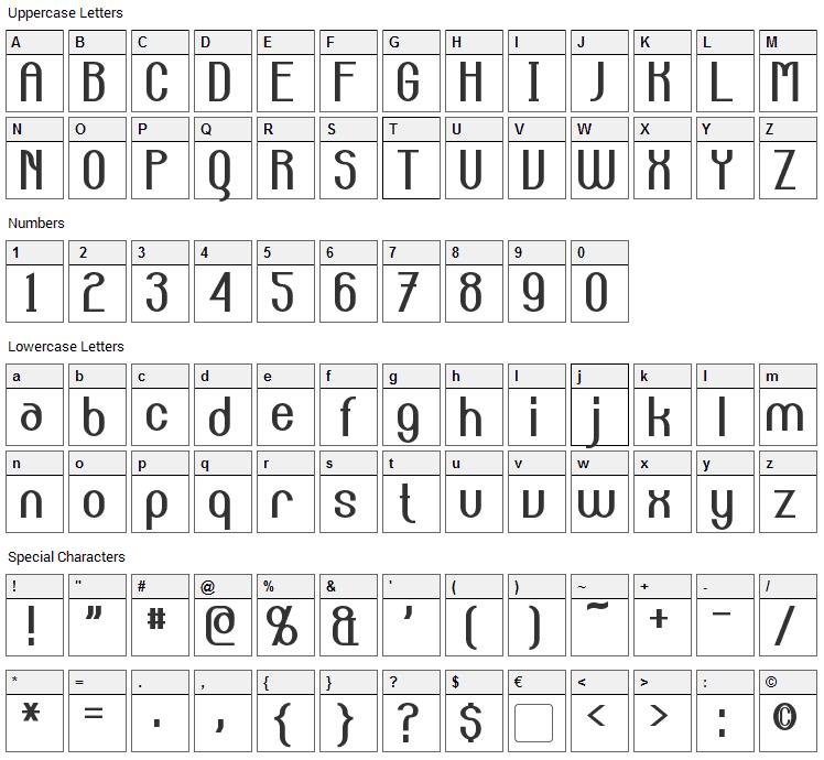 Carlton Font Character Map
