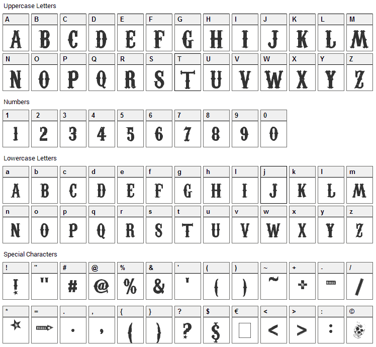 Carnevalee Freakshow Font Character Map