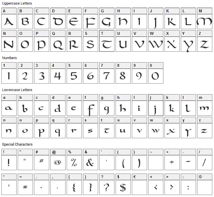 Carolingia Font Character Map