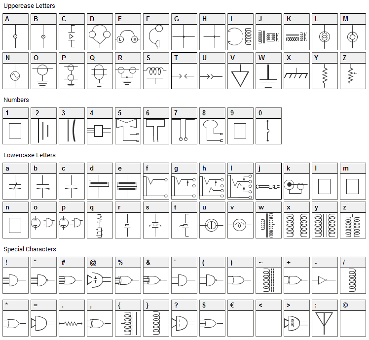 Carr Electronic Font Character Map