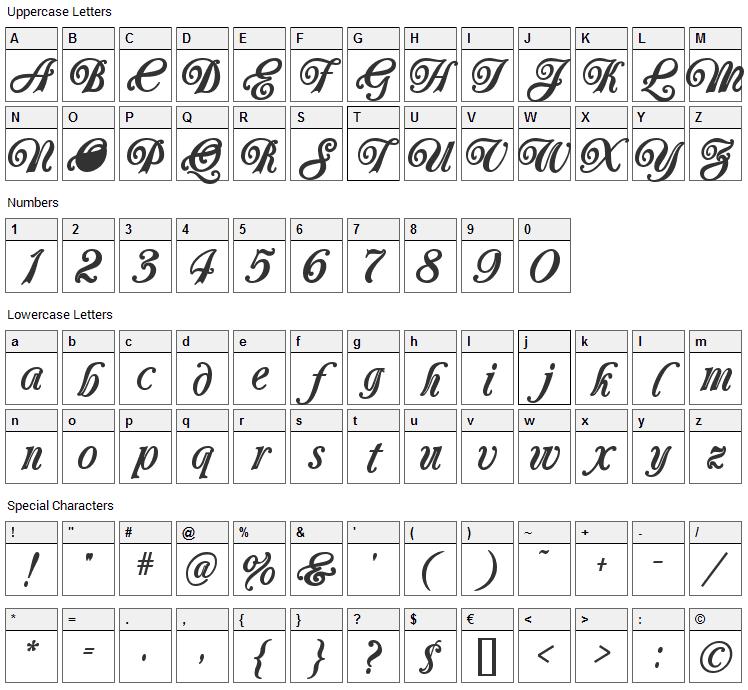 Carrington Font Character Map
