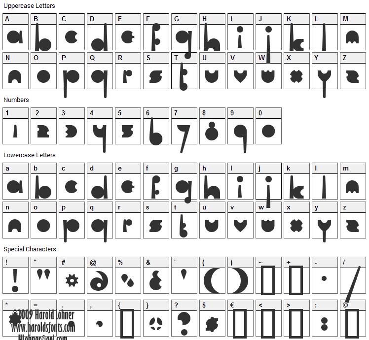 Cartel Font Character Map