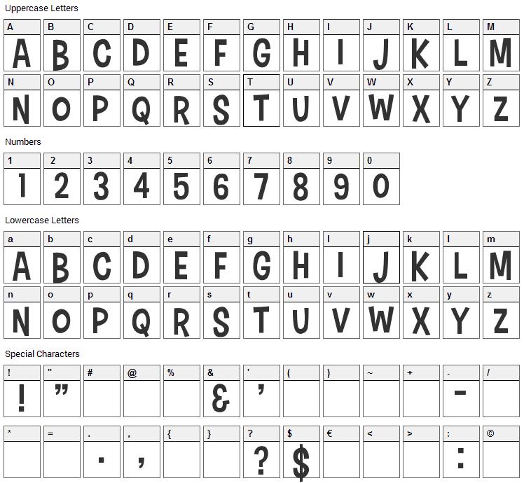 Cartonsix Font Character Map