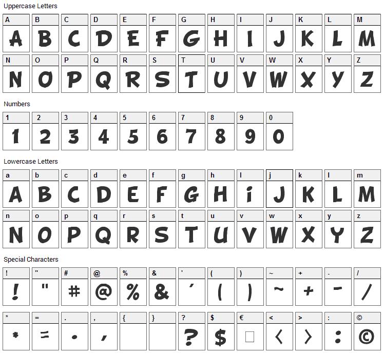 Cartoon Shout Font Character Map