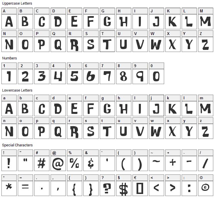 Cartoonic Massive Font Character Map
