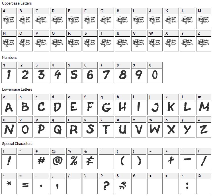 Casket Breath Font Character Map