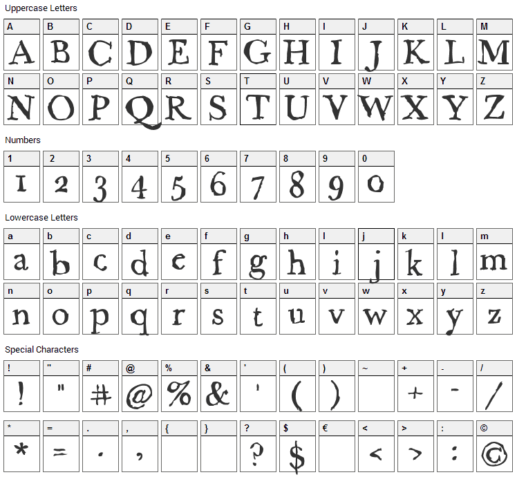 Caslame Font Character Map