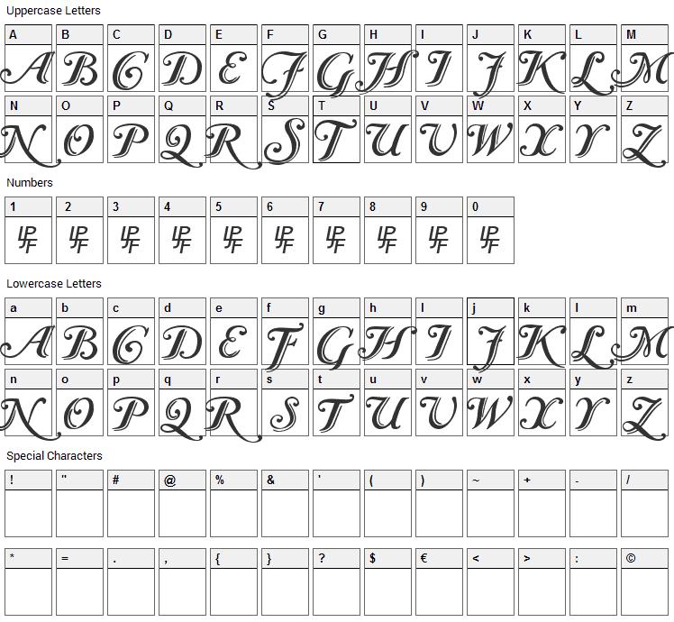 Caslon Font Character Map