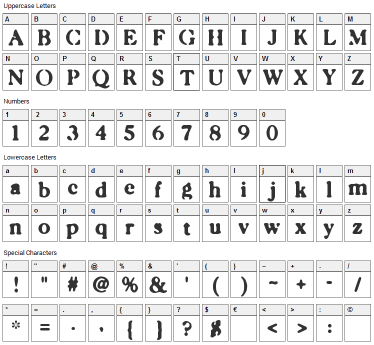 Caslonostrate Font Character Map