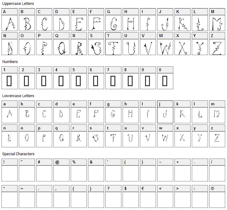 Cassatta Zig Font Character Map