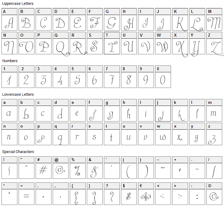 Castal Street Font Character Map