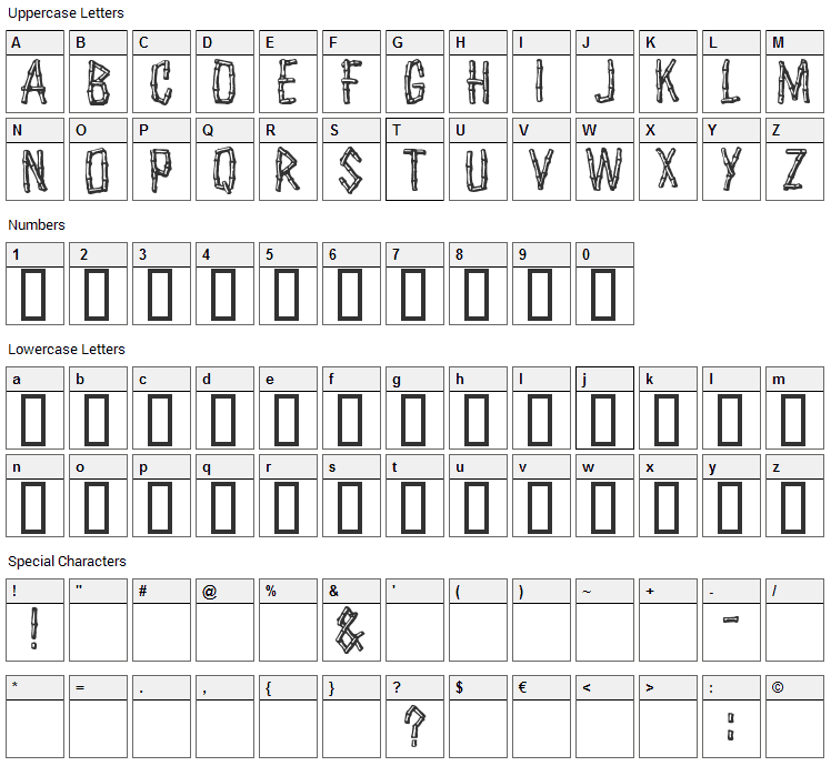 Castaway Font Character Map