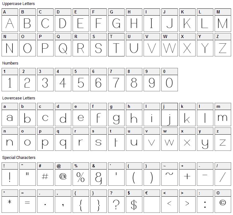 Castorgate Font Character Map