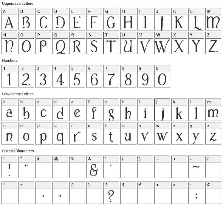 Casua Font Character Map