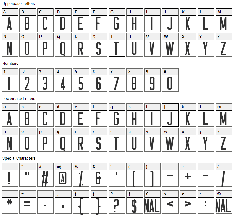 Casual Hardcore Font Character Map
