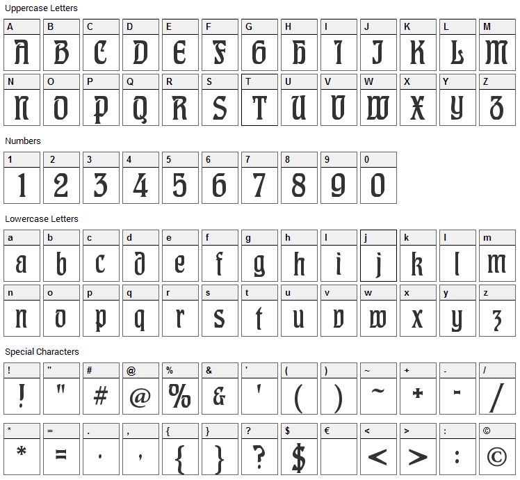CAT Hohenzollern Font Character Map