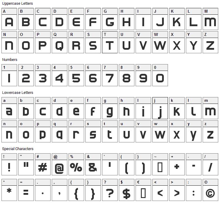 CAT North Font Character Map