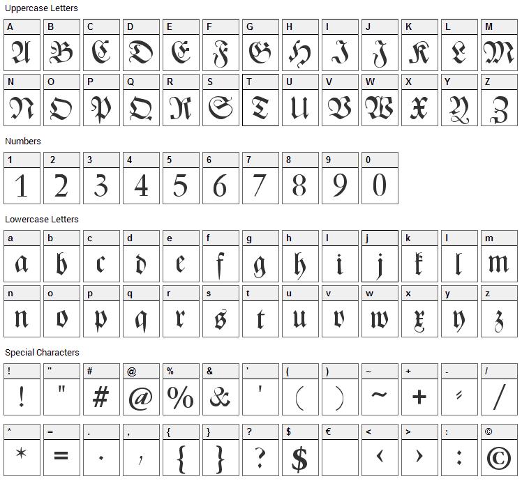 CAT Zentenaer Fraktur UNZ1 Font Character Map