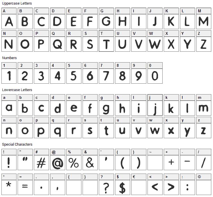 Catalogue Font Character Map