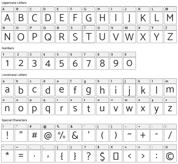 Catamaran Font Character Map
