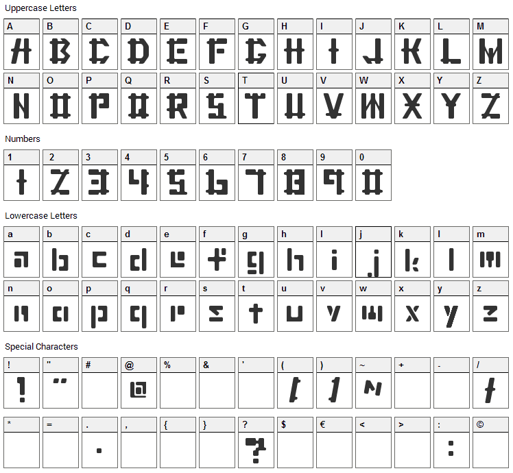 Cater Font Character Map