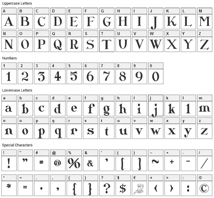 CatShop Font Character Map