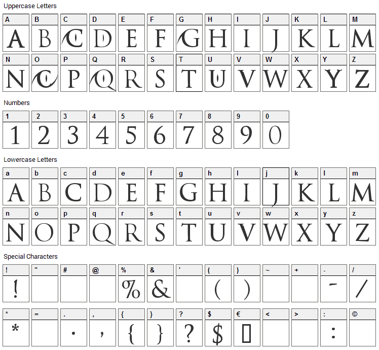 Catwoman Font Character Map