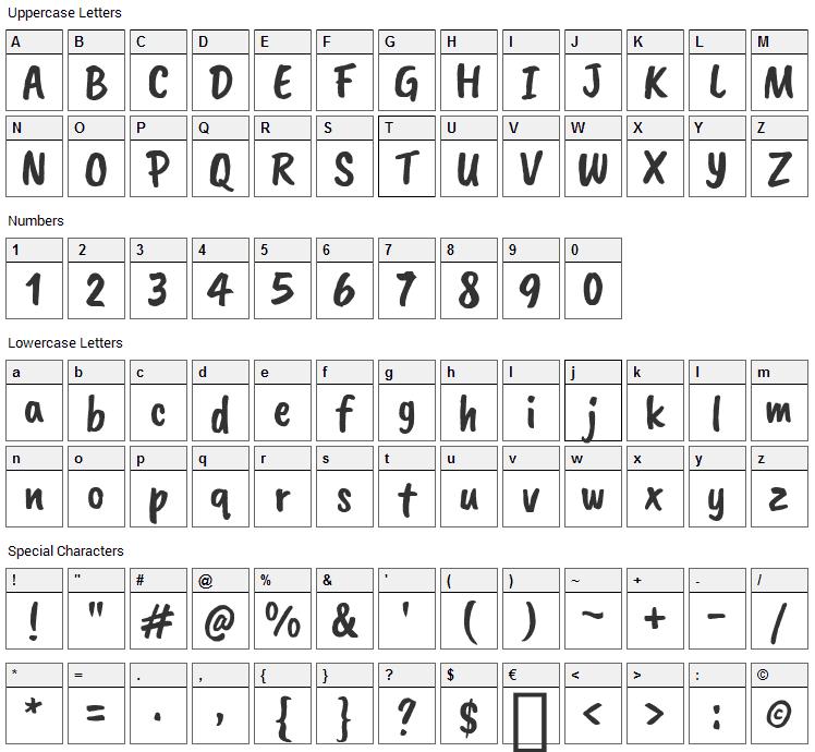 Caveat Brush Font Character Map