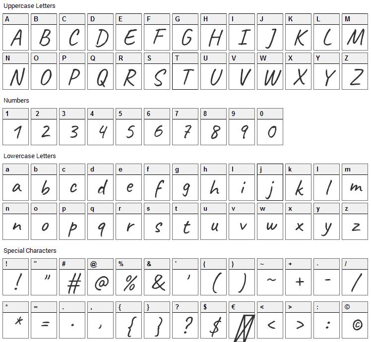 Caveat Font Character Map