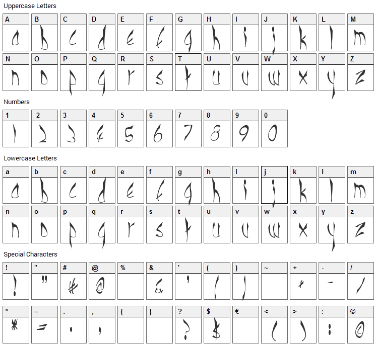Cbe Normal Font Character Map