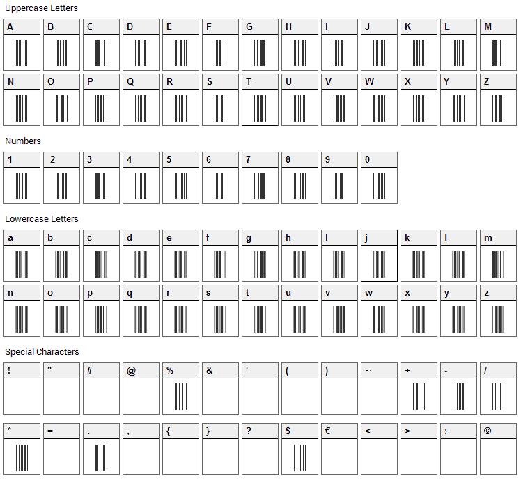 CCode39 Font Character Map