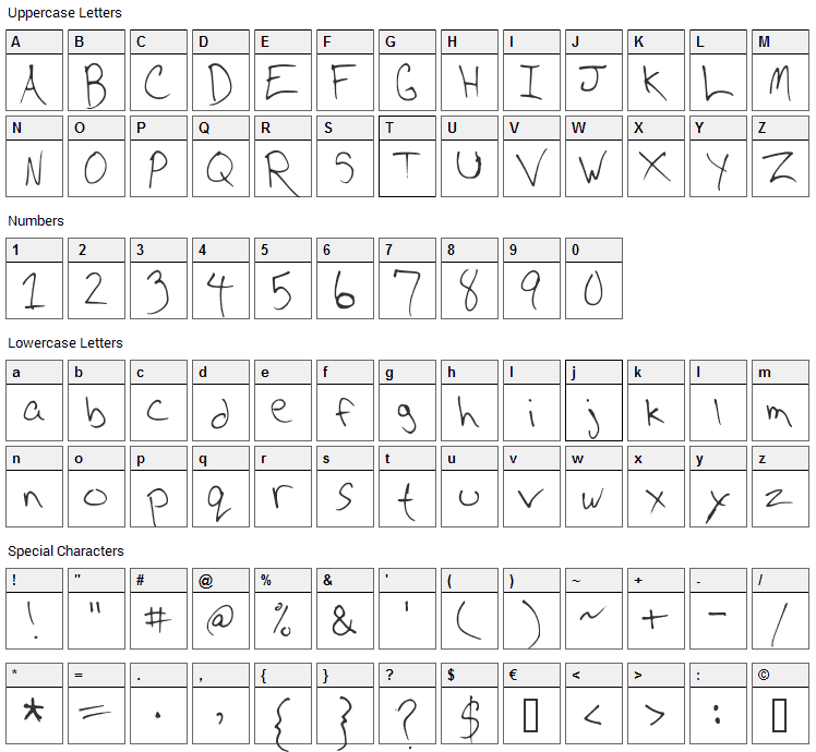 CD Writing Font Character Map