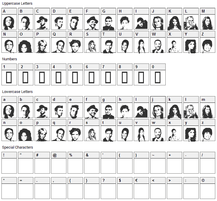 Celeb Faces Font Character Map