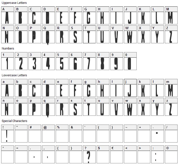 Celofan Font Character Map
