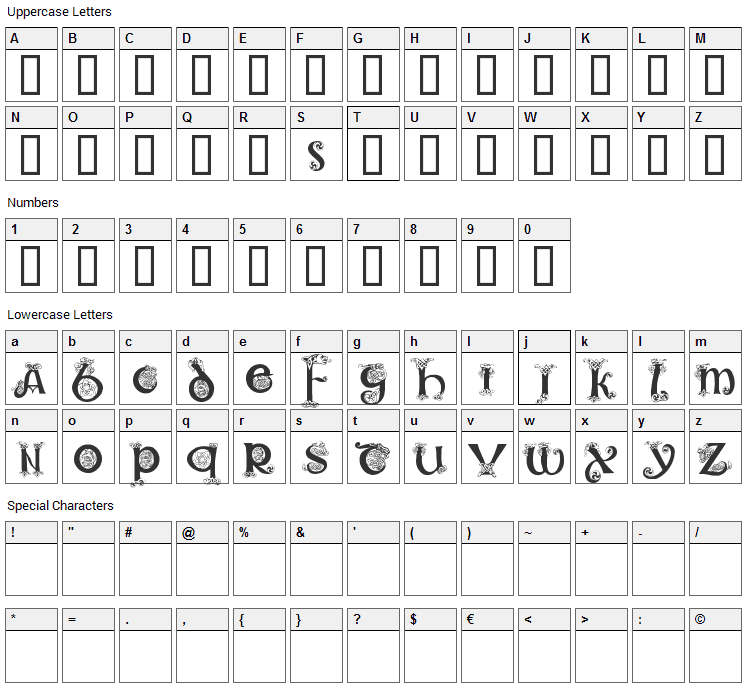 Celtic 101 Font Character Map