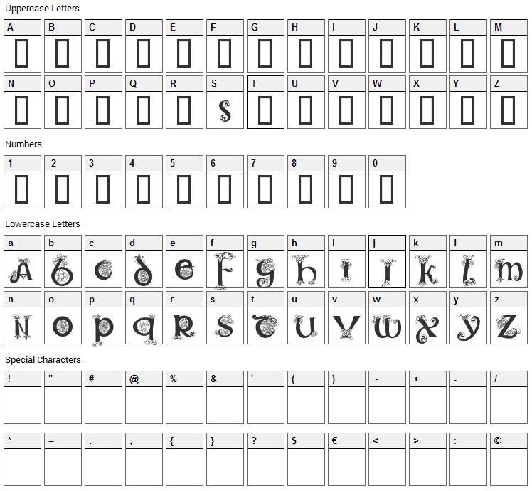 Celtic 101 Font Character Map