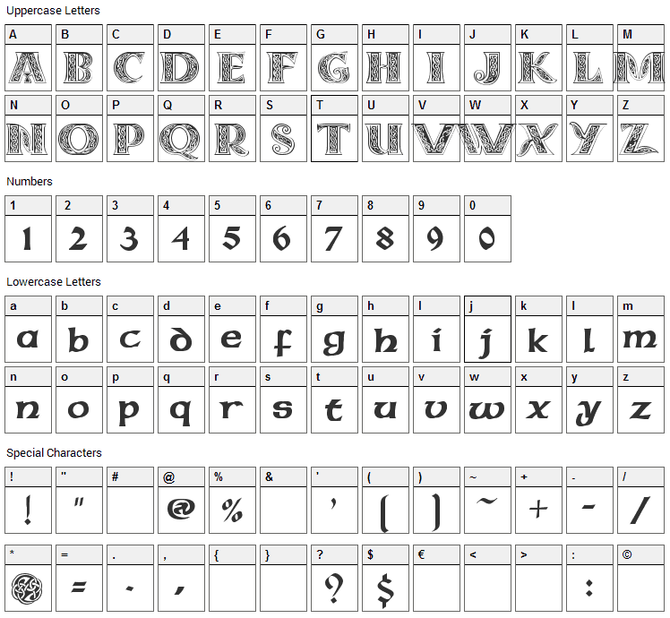 Celtic MD Font Character Map