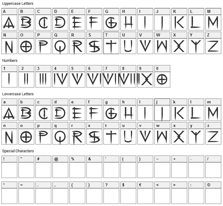 Cenobyte Font Character Map