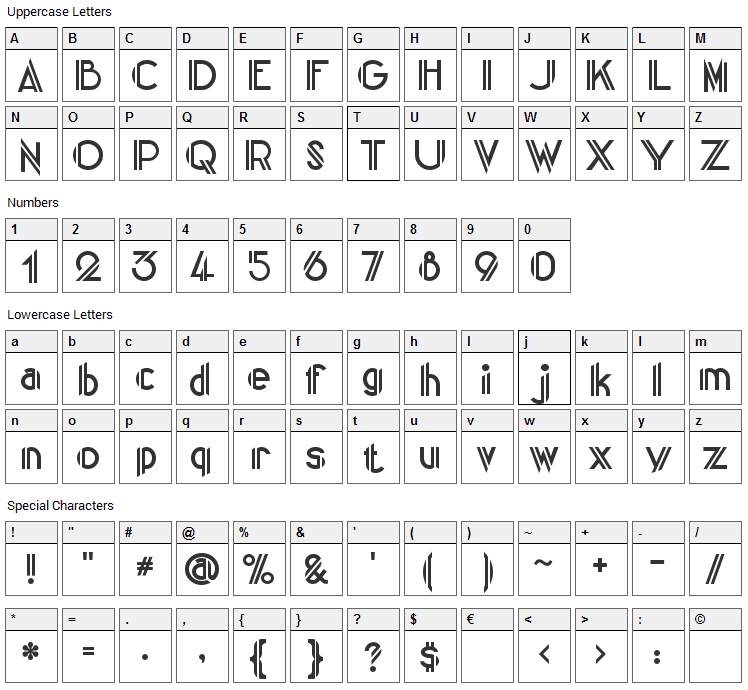 Centre Claws Font Character Map